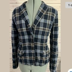 Michael Stars Flannel Fitted Blazer